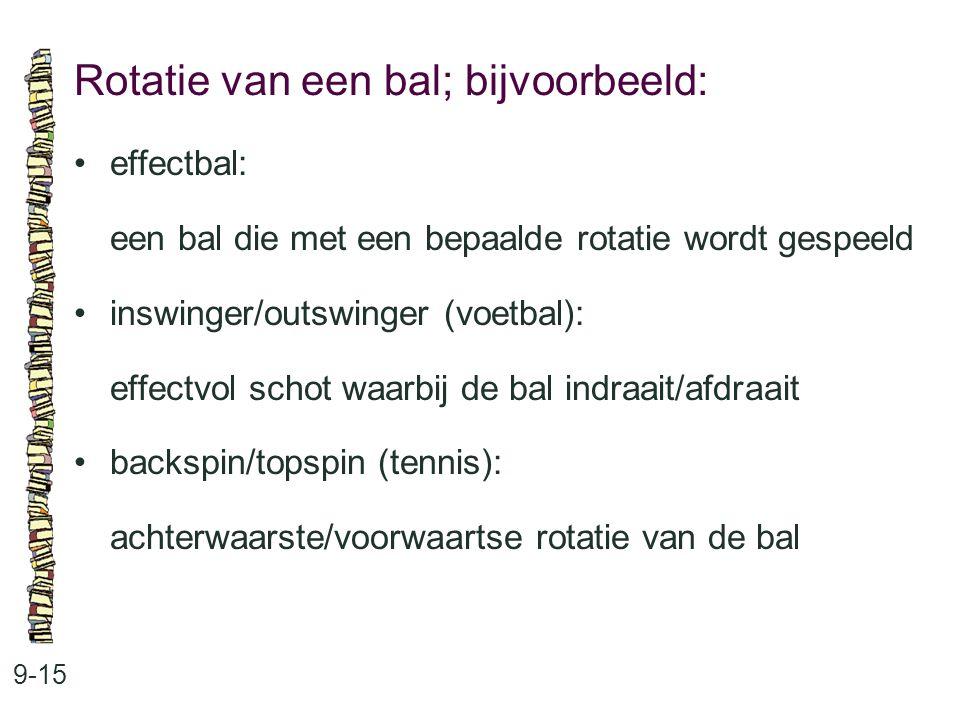 Rotatie van een bal; bijvoorbeeld: 9-15 effectbal: een bal die met een bepaalde rotatie wordt gespeeld inswinger/outswinger (voetbal): effectvol schot