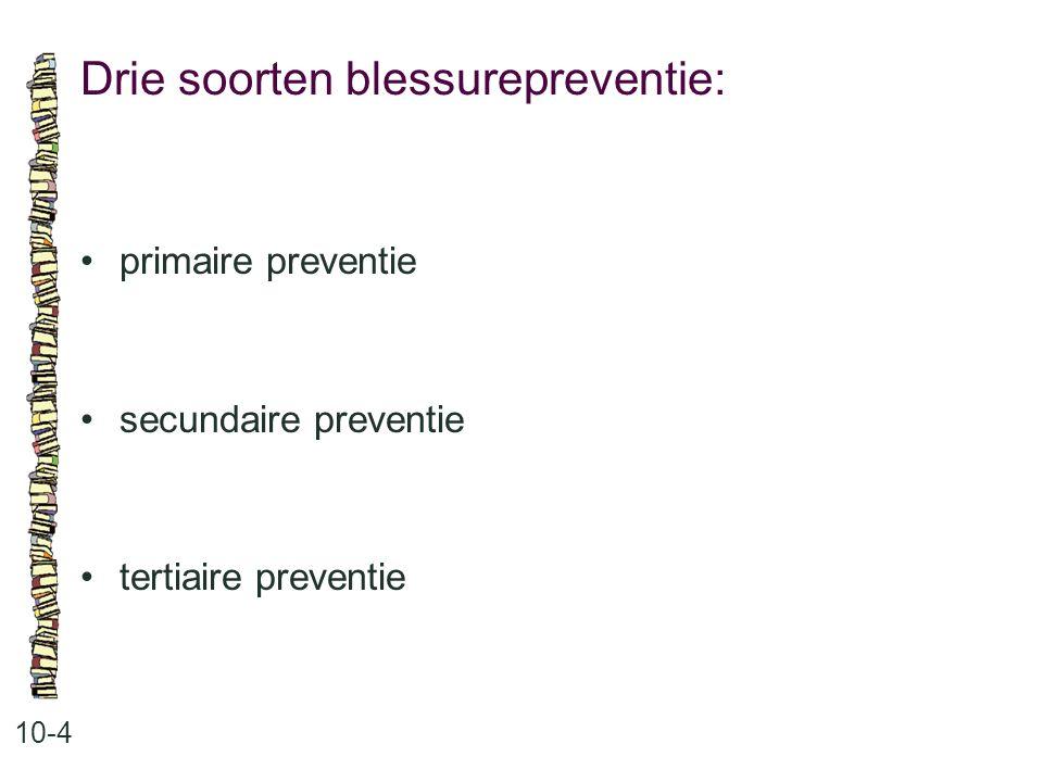 Drie soorten blessurepreventie: 10-4 primaire preventie secundaire preventie tertiaire preventie