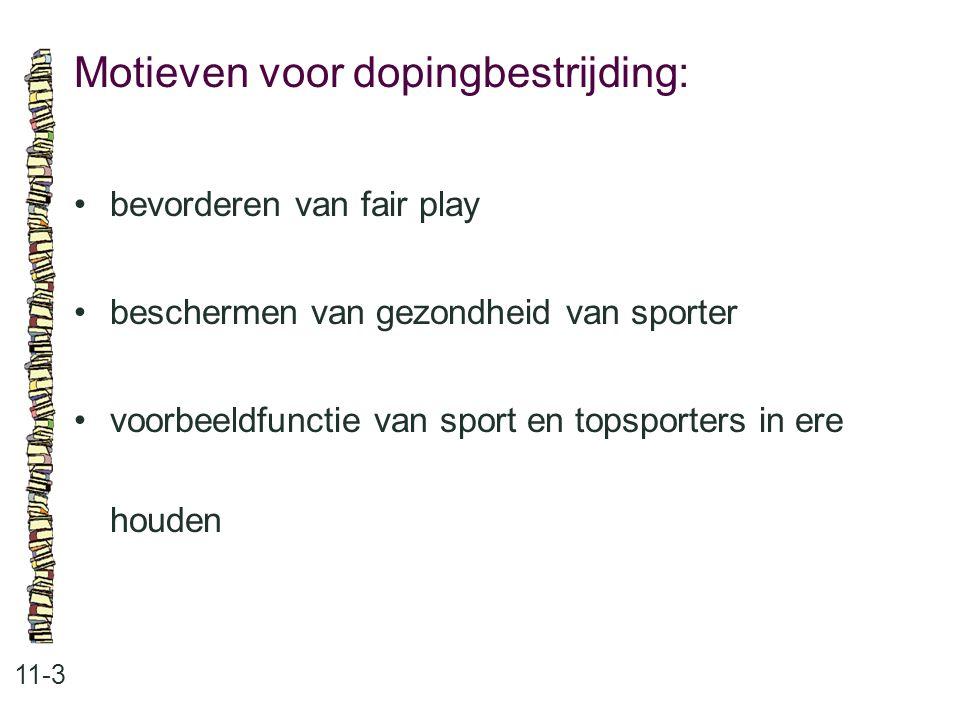 Motieven voor dopingbestrijding: 11-3 bevorderen van fair play beschermen van gezondheid van sporter voorbeeldfunctie van sport en topsporters in ere