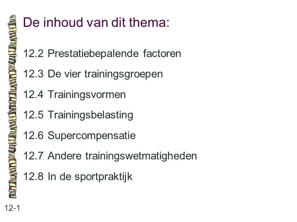 De inhoud van dit thema: 12-1 12.2Prestatiebepalende factoren 12.3De vier trainingsgroepen 12.4Trainingsvormen 12.5Trainingsbelasting 12.6Supercompens