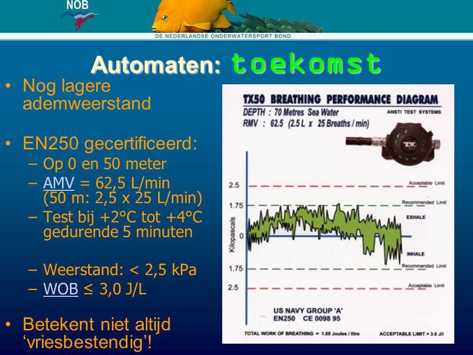 Automaten: toekomst Nog lagere ademweerstand EN250 gecertificeerd: –Op 0 en 50 meter –AMV = 62,5 L/min (50 m: 2,5 x 25 L/min)AMV –Test bij +2°C tot +4