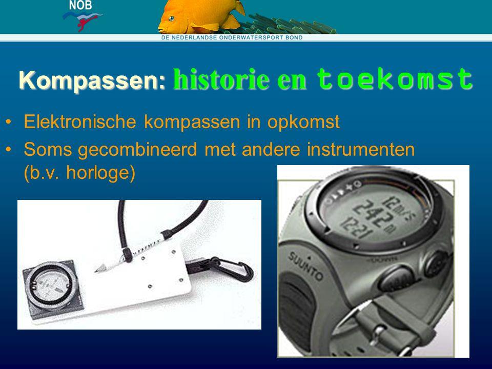 Kompassen: historie en toekomst Elektronische kompassen in opkomst Soms gecombineerd met andere instrumenten (b.v. horloge)