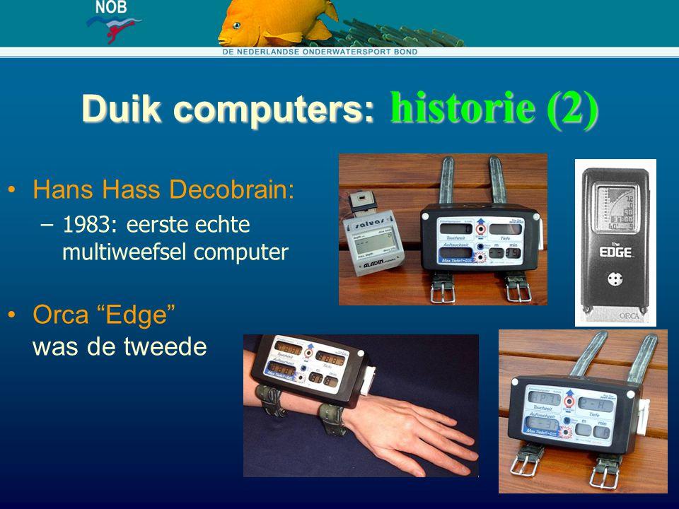 """Duik computers: historie (2) Hans Hass Decobrain: –1983: eerste echte multiweefsel computer Orca """"Edge"""" was de tweede"""
