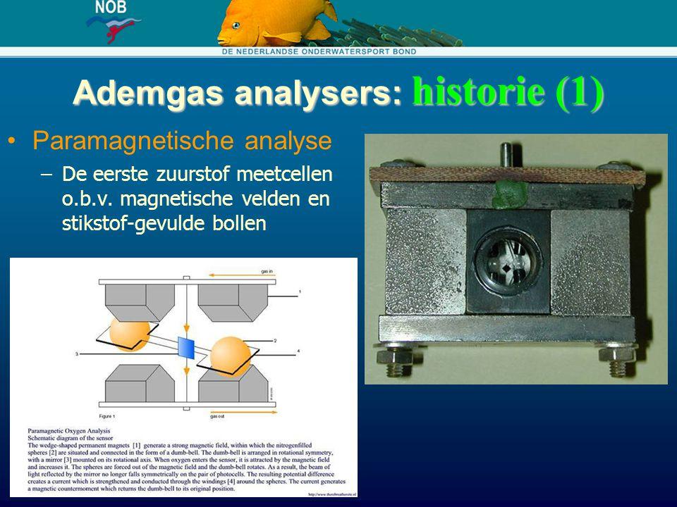 Ademgas analysers: historie (1) Paramagnetische analyse –De eerste zuurstof meetcellen o.b.v. magnetische velden en stikstof-gevulde bollen