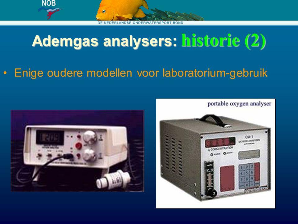 Ademgas analysers: historie (2) Enige oudere modellen voor laboratorium-gebruik
