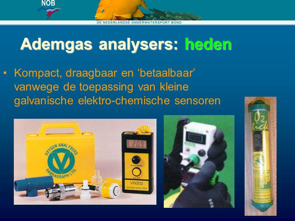 Ademgas analysers: heden Kompact, draagbaar en 'betaalbaar' vanwege de toepassing van kleine galvanische elektro-chemische sensoren