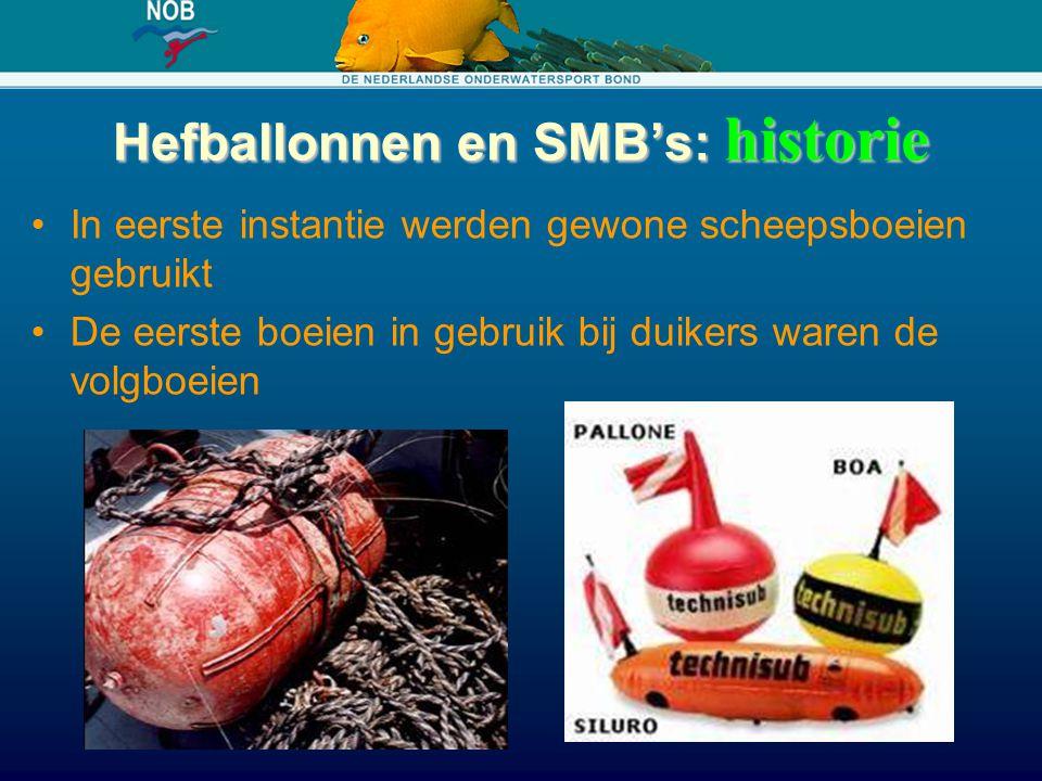 Hefballonnen en SMB's: historie In eerste instantie werden gewone scheepsboeien gebruikt De eerste boeien in gebruik bij duikers waren de volgboeien