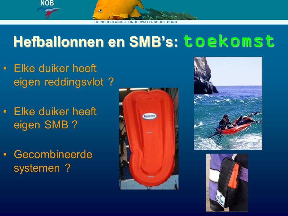 Hefballonnen en SMB's: toekomst Elke duiker heeft eigen reddingsvlot ? Elke duiker heeft eigen SMB ? Gecombineerde systemen ?