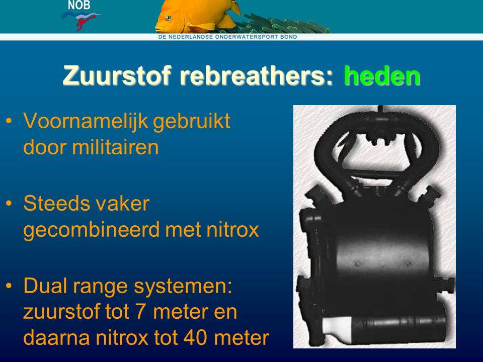 Zuurstof rebreathers: heden Voornamelijk gebruikt door militairen Steeds vaker gecombineerd met nitrox Dual range systemen: zuurstof tot 7 meter en da