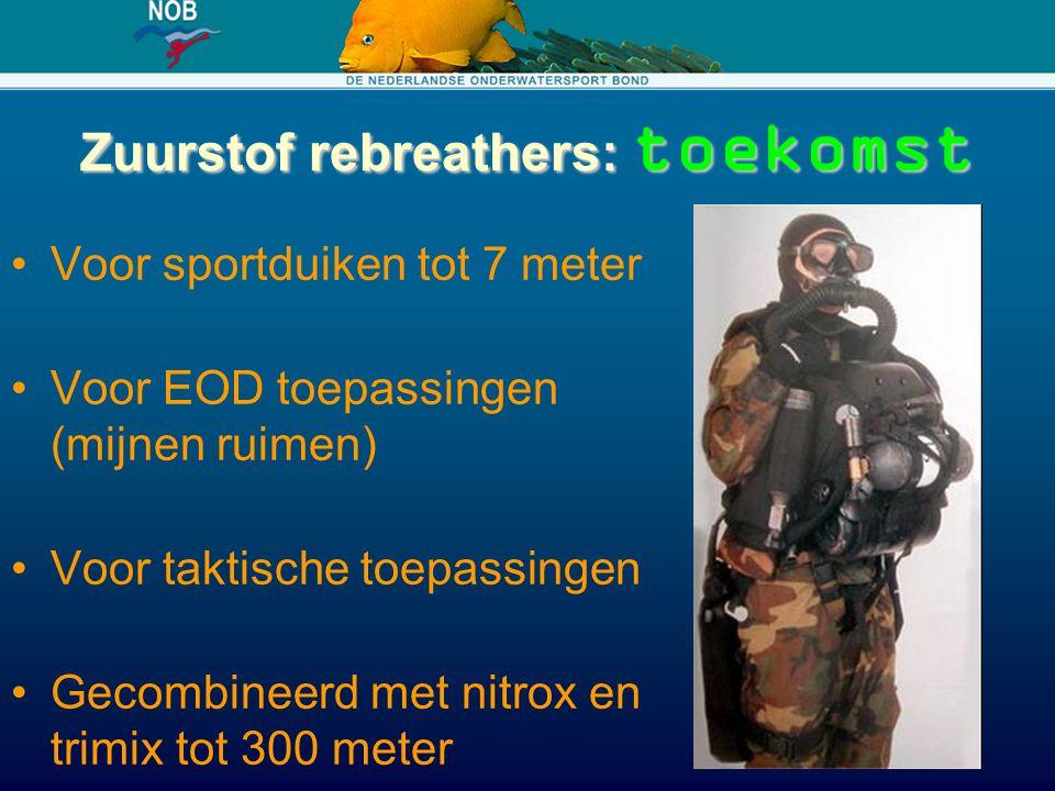 Zuurstof rebreathers: toekomst Voor sportduiken tot 7 meter Voor EOD toepassingen (mijnen ruimen) Voor taktische toepassingen Gecombineerd met nitrox