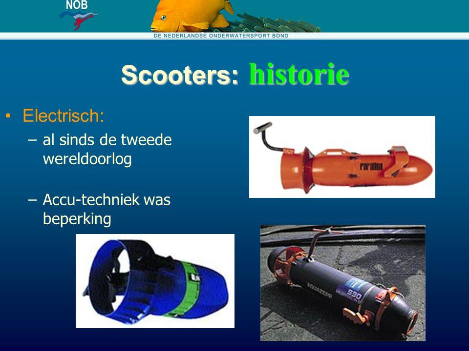 Scooters: historie Electrisch: –al sinds de tweede wereldoorlog –Accu-techniek was beperking