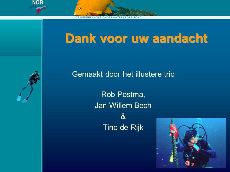 Dank voor uw aandacht Gemaakt door het illustere trio Rob Postma, Jan Willem Bech & Tino de Rijk