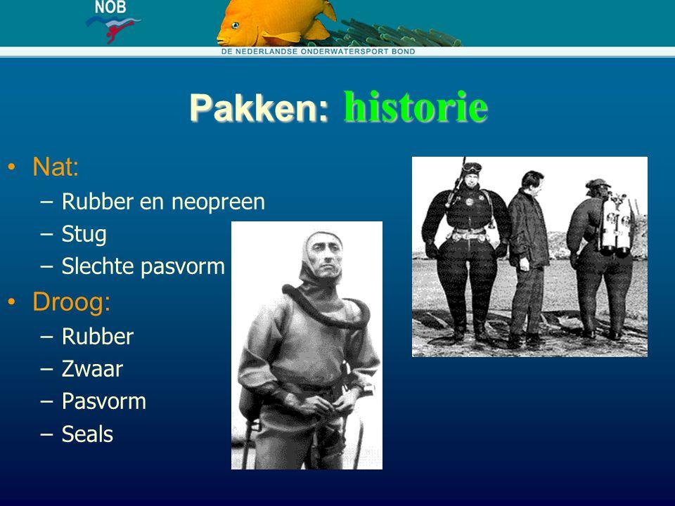 Pakken: historie Nat: –Rubber en neopreen –Stug –Slechte pasvorm Droog: –Rubber –Zwaar –Pasvorm –Seals