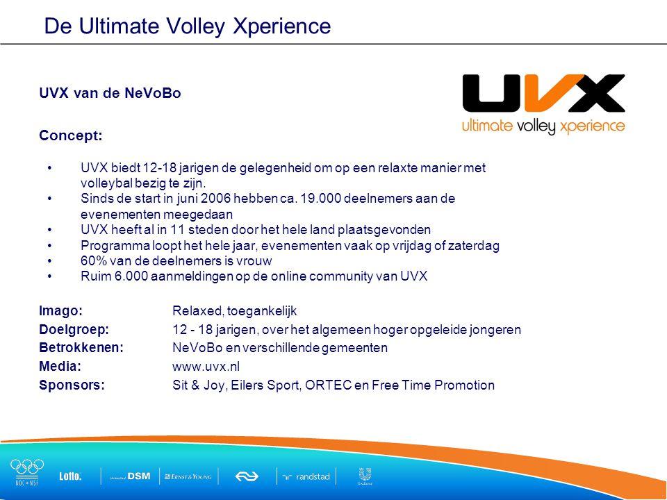 De Ultimate Volley Xperience UVX van de NeVoBo Concept: UVX biedt 12-18 jarigen de gelegenheid om op een relaxte manier met volleybal bezig te zijn.