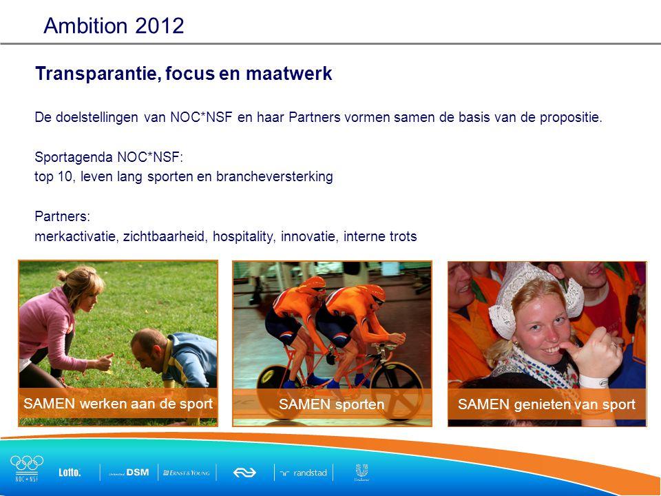Transparantie, focus en maatwerk De doelstellingen van NOC*NSF en haar Partners vormen samen de basis van de propositie.