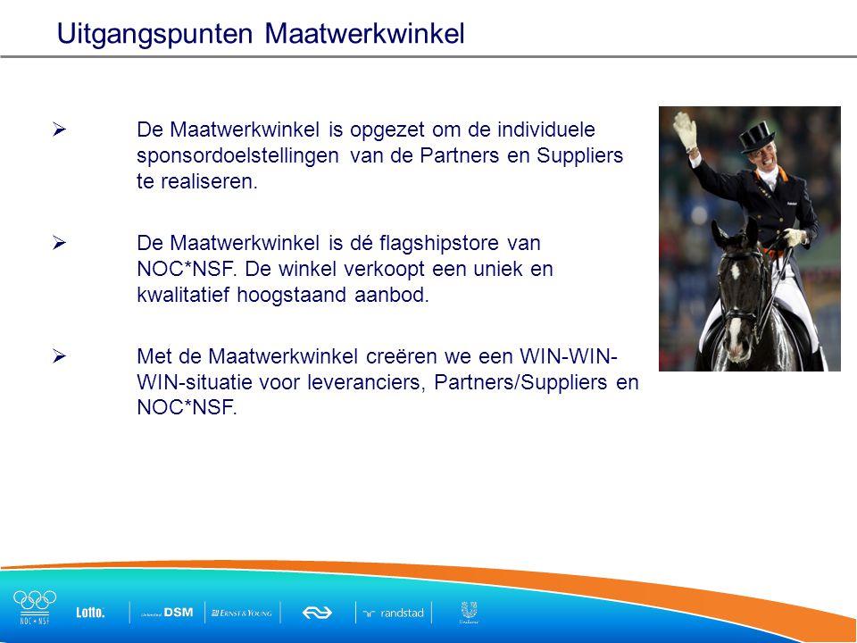  De Maatwerkwinkel is opgezet om de individuele sponsordoelstellingen van de Partners en Suppliers te realiseren.