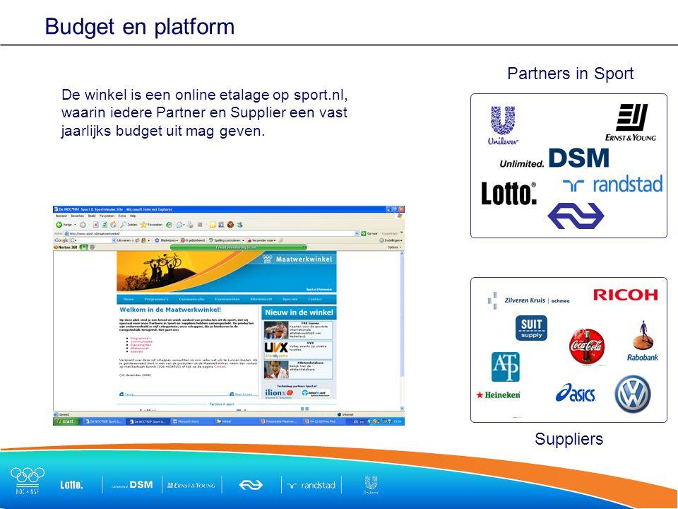 Budget en platform De winkel is een online etalage op sport.nl, waarin iedere Partner en Supplier een vast jaarlijks budget uit mag geven.