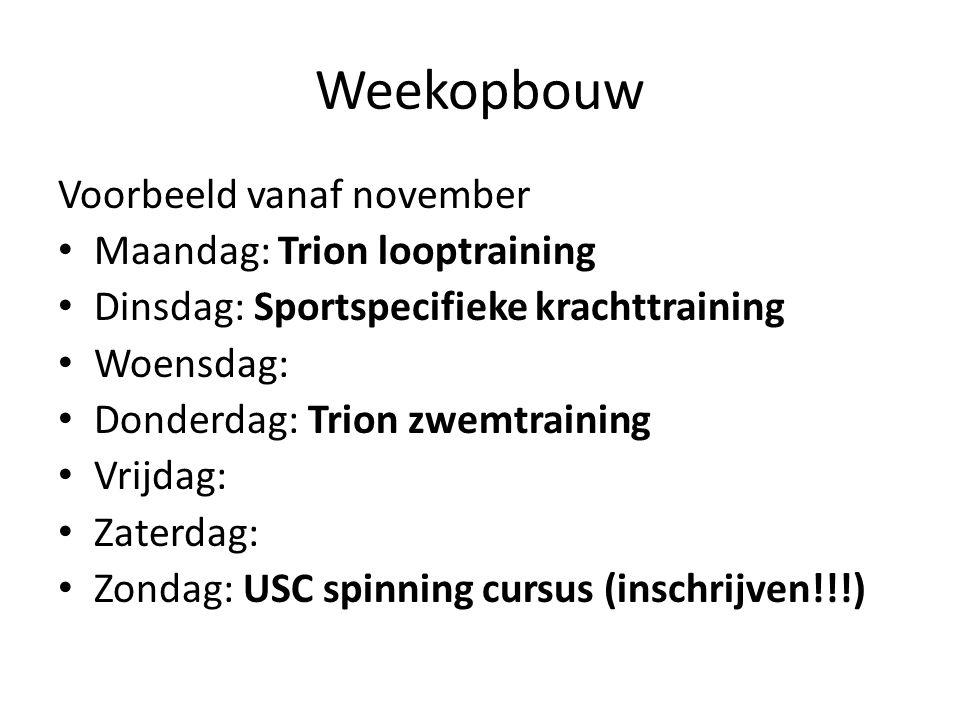 Weekopbouw Voorbeeld vanaf november Maandag: Trion looptraining Dinsdag: Sportspecifieke krachttraining Woensdag: Donderdag: Trion zwemtraining Vrijdag: Zaterdag: Zondag: USC spinning cursus (inschrijven!!!)
