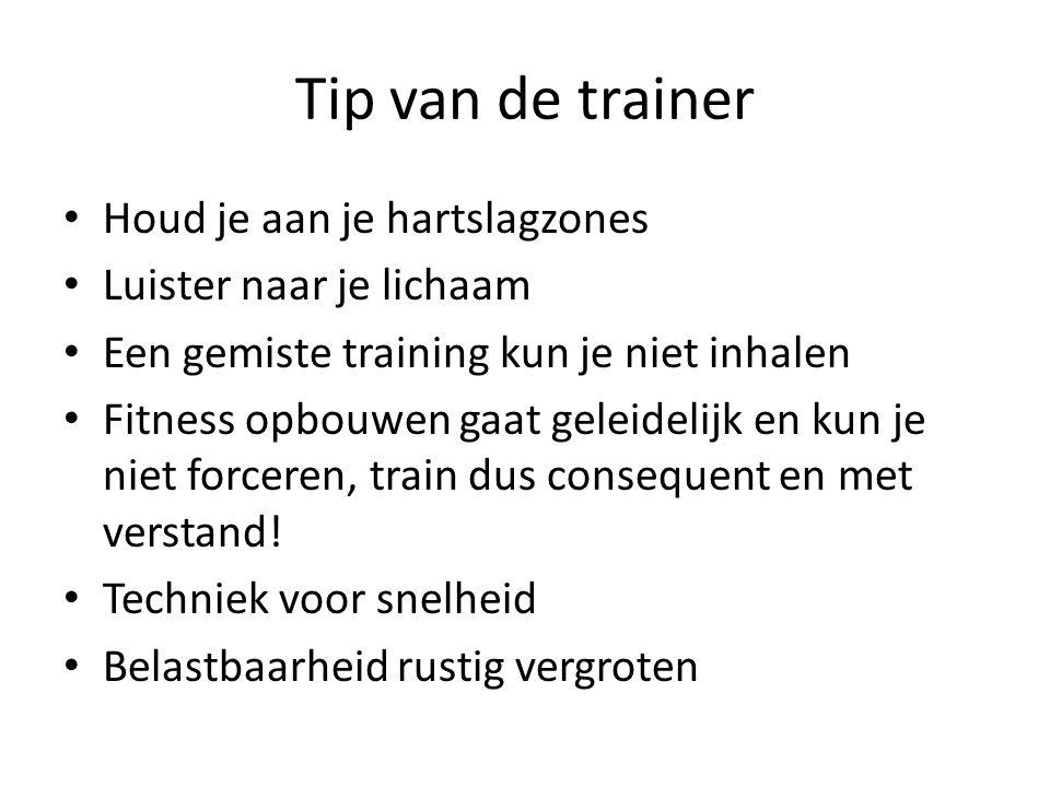 Tip van de trainer Houd je aan je hartslagzones Luister naar je lichaam Een gemiste training kun je niet inhalen Fitness opbouwen gaat geleidelijk en