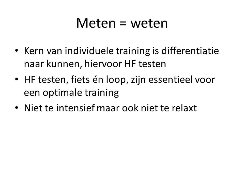 Meten = weten Kern van individuele training is differentiatie naar kunnen, hiervoor HF testen HF testen, fiets én loop, zijn essentieel voor een optimale training Niet te intensief maar ook niet te relaxt
