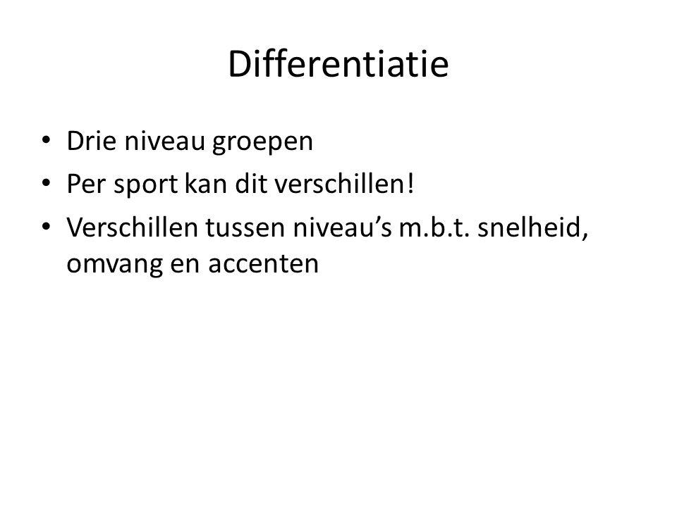 Differentiatie Drie niveau groepen Per sport kan dit verschillen! Verschillen tussen niveau's m.b.t. snelheid, omvang en accenten