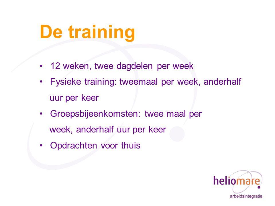 De training 12 weken, twee dagdelen per week Fysieke training: tweemaal per week, anderhalf uur per keer Groepsbijeenkomsten: twee maal per week, anderhalf uur per keer Opdrachten voor thuis