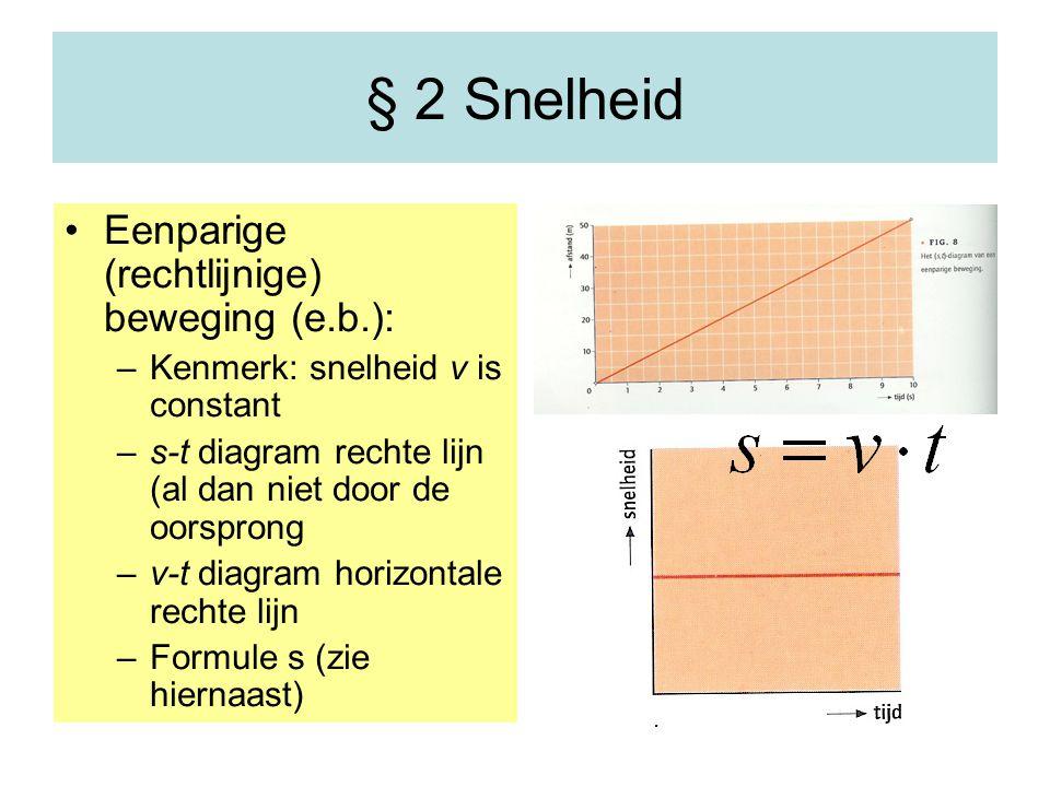 § 2 Snelheid Eenparige (rechtlijnige) beweging (e.b.): –Kenmerk: snelheid v is constant –s-t diagram rechte lijn (al dan niet door de oorsprong –v-t d