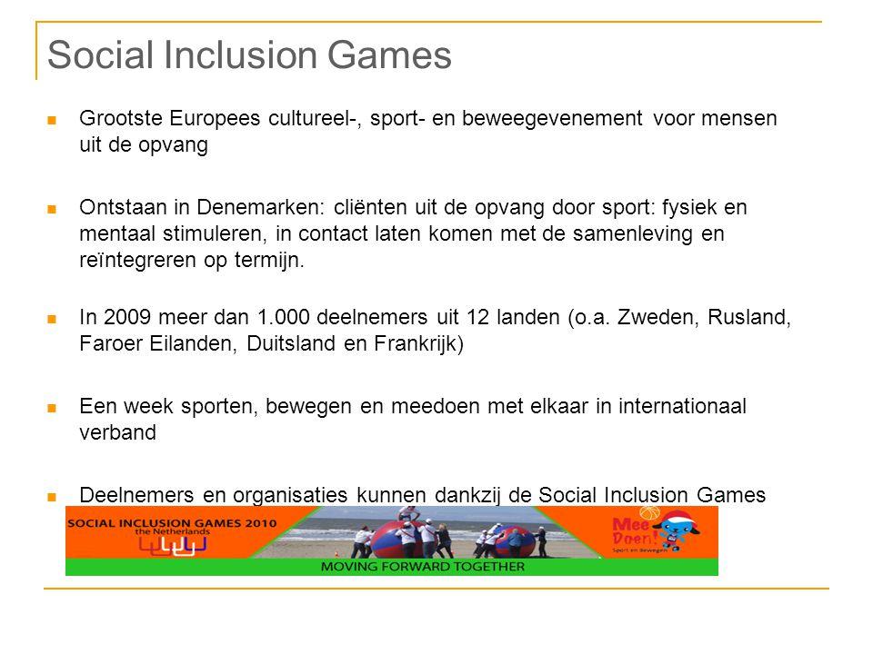 Social Inclusion Games Grootste Europees cultureel-, sport- en beweegevenement voor mensen uit de opvang Ontstaan in Denemarken: cliënten uit de opvang door sport: fysiek en mentaal stimuleren, in contact laten komen met de samenleving en reïntegreren op termijn.