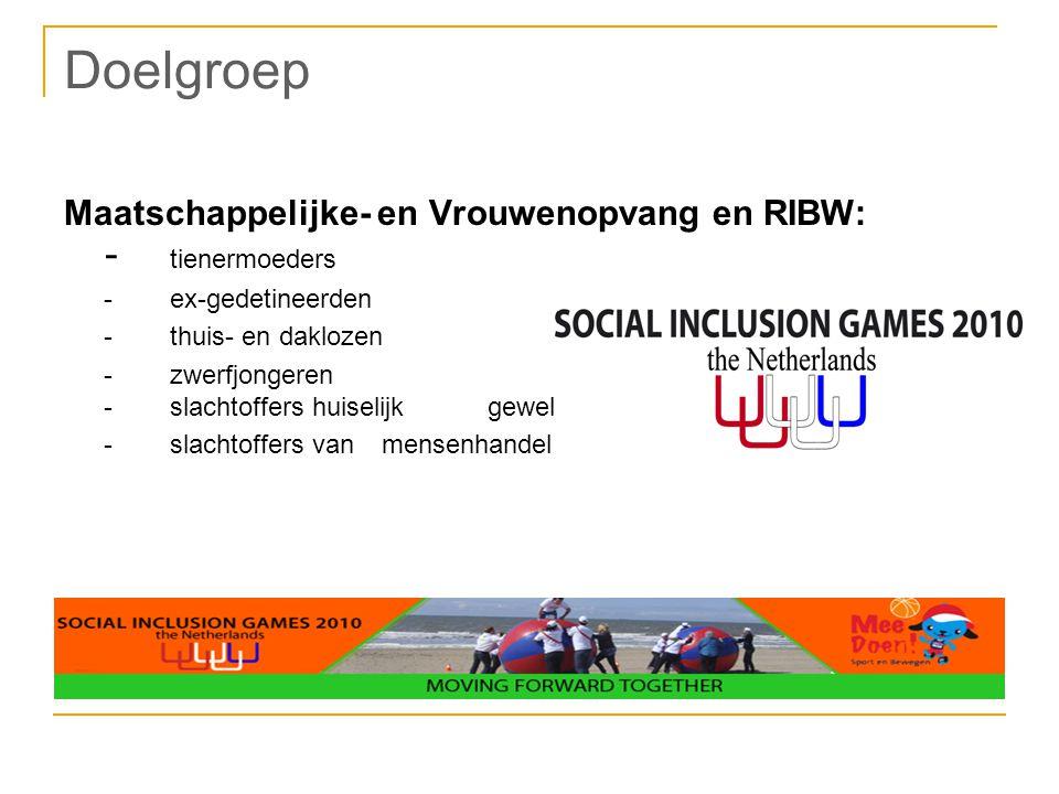Doelgroep Maatschappelijke- en Vrouwenopvang en RIBW: - tienermoeders -ex-gedetineerden -thuis- en daklozen -zwerfjongeren -slachtoffers huiselijk gew