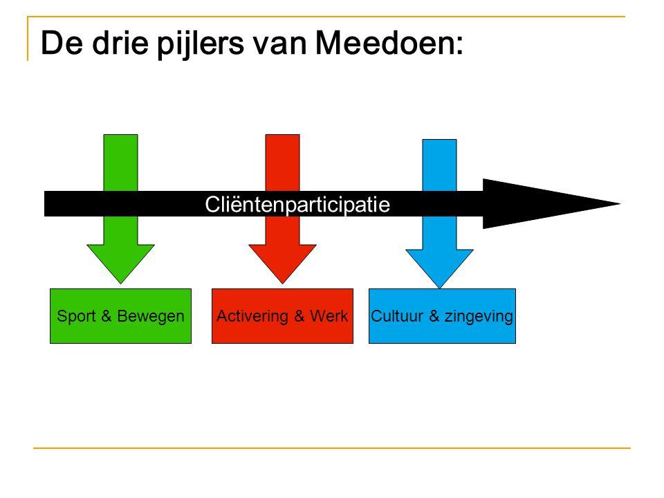 De drie pijlers van Meedoen: Cliëntenparticipatie Sport & BewegenActivering & WerkCultuur & zingeving
