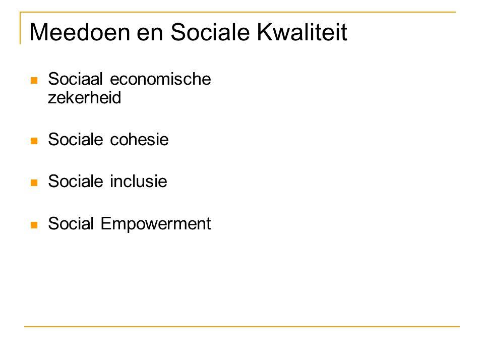 Meedoen en Sociale Kwaliteit Sociaal economische zekerheid Sociale cohesie Sociale inclusie Social Empowerment