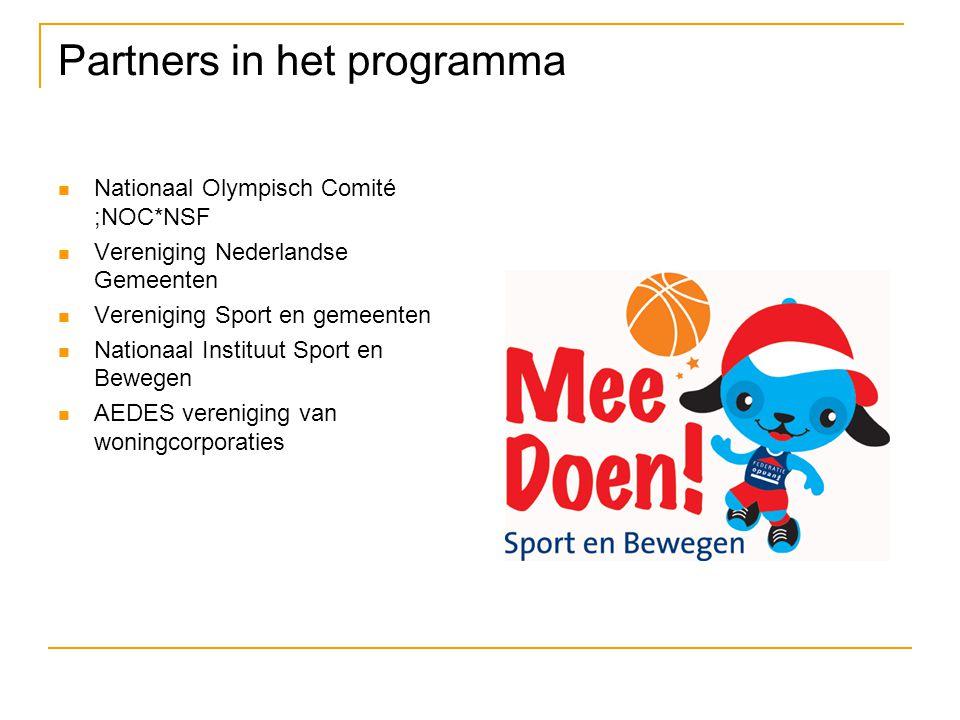 Partners in het programma Nationaal Olympisch Comité ;NOC*NSF Vereniging Nederlandse Gemeenten Vereniging Sport en gemeenten Nationaal Instituut Sport en Bewegen AEDES vereniging van woningcorporaties