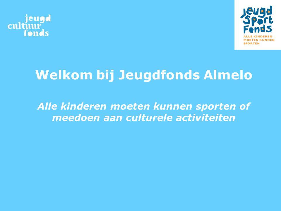 Welkom bij Jeugdfonds Almelo Alle kinderen moeten kunnen sporten of meedoen aan culturele activiteiten