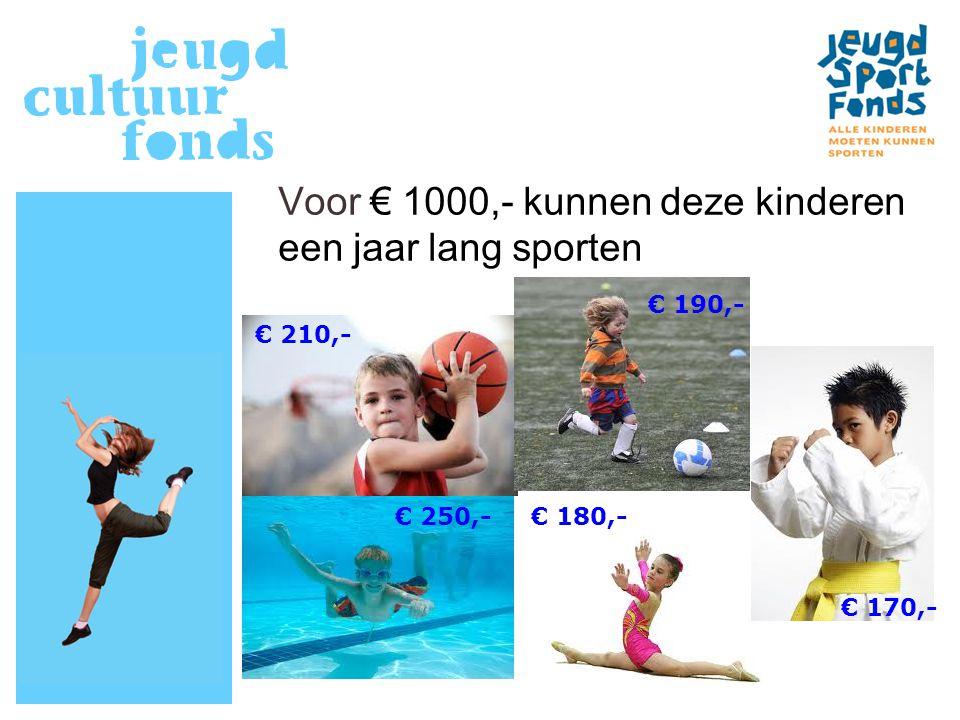 Voor € 1000,- kunnen deze kinderen een jaar lang sporten € 190,- € 210,- € 250,-€ 180,- € 170,-
