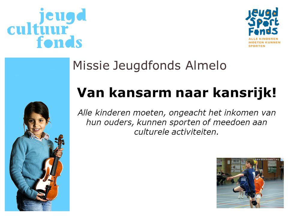 Missie Jeugdfonds Almelo Van kansarm naar kansrijk! Alle kinderen moeten, ongeacht het inkomen van hun ouders, kunnen sporten of meedoen aan culturele