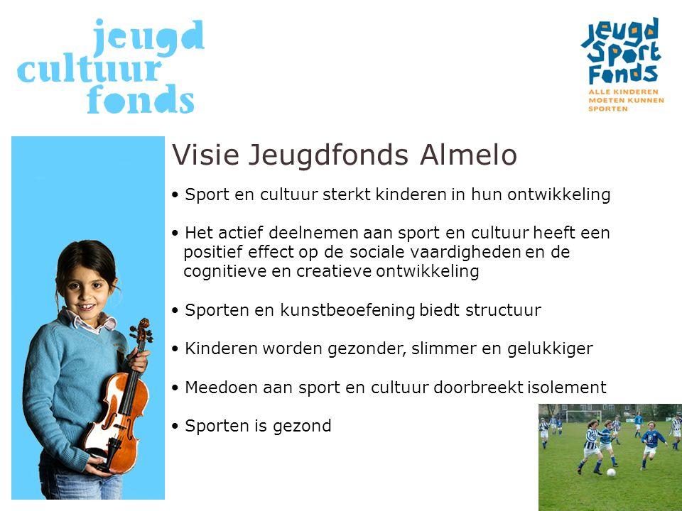 Visie Jeugdfonds Almelo Sport en cultuur sterkt kinderen in hun ontwikkeling Het actief deelnemen aan sport en cultuur heeft een positief effect op de