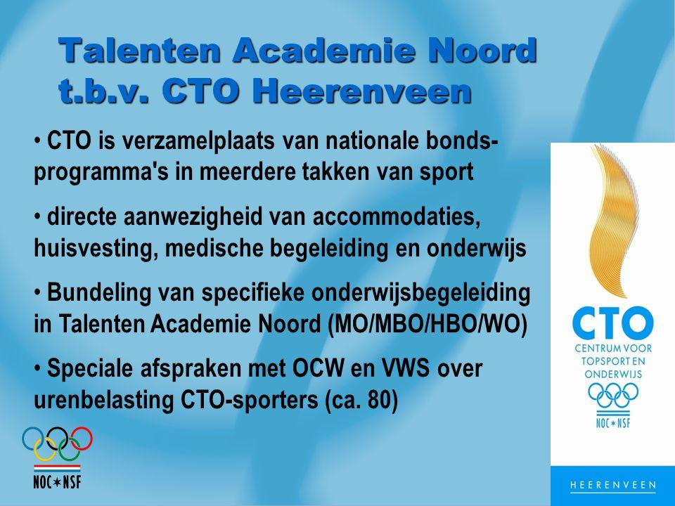 Talenten Academie Noord t.b.v. CTO Heerenveen CTO is verzamelplaats van nationale bonds- programma's in meerdere takken van sport directe aanwezigheid