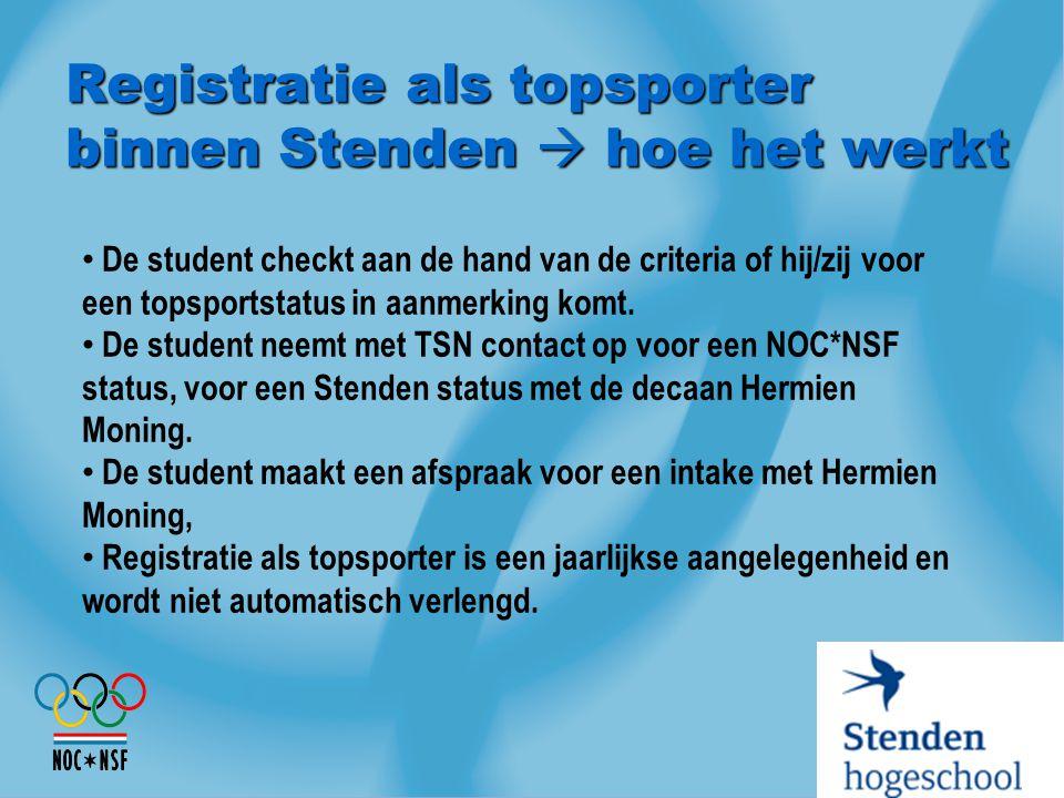 Registratie als topsporter binnen Stenden  hoe het werkt De student checkt aan de hand van de criteria of hij/zij voor een topsportstatus in aanmerki