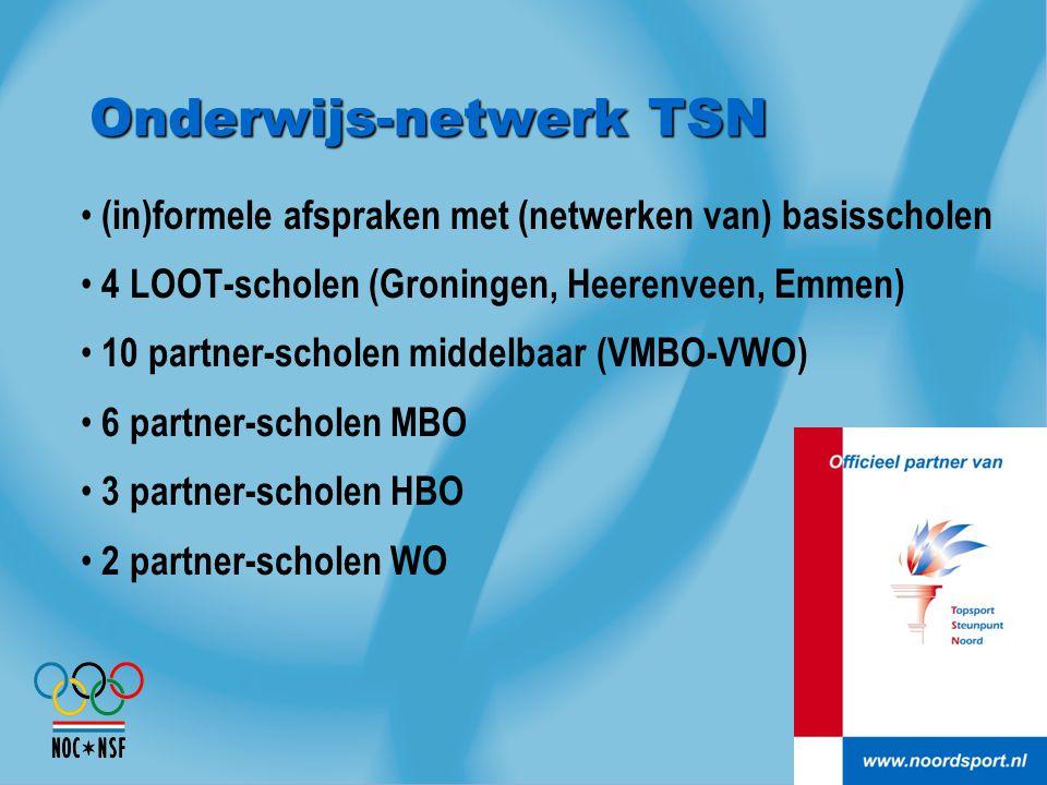 Onderwijs-netwerk TSN (in)formele afspraken met (netwerken van) basisscholen 4 LOOT-scholen (Groningen, Heerenveen, Emmen) 10 partner-scholen middelba