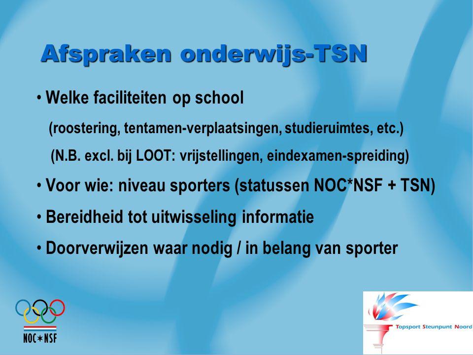 Afspraken onderwijs-TSN Welke faciliteiten op school (roostering, tentamen-verplaatsingen, studieruimtes, etc.) (N.B. excl. bij LOOT: vrijstellingen,