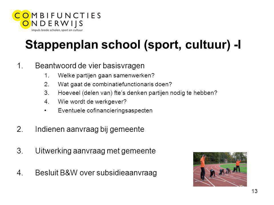 13 Stappenplan school (sport, cultuur) -I 1.Beantwoord de vier basisvragen 1.Welke partijen gaan samenwerken? 2.Wat gaat de combinatiefunctionaris doe