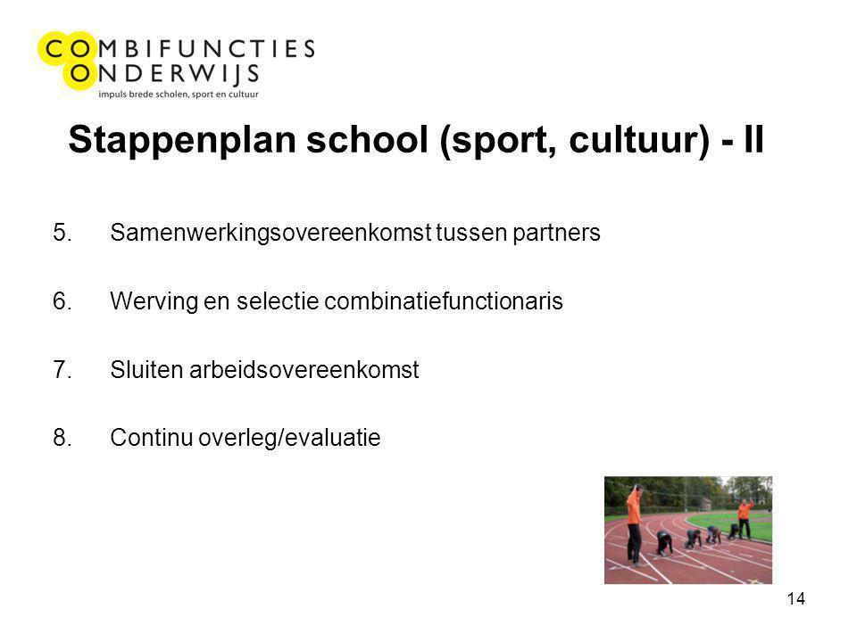 14 Stappenplan school (sport, cultuur) - II 5.Samenwerkingsovereenkomst tussen partners 6.Werving en selectie combinatiefunctionaris 7.Sluiten arbeidsovereenkomst 8.Continu overleg/evaluatie