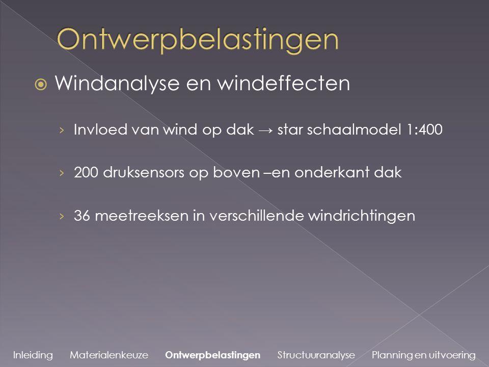  Windanalyse en windeffecten › Invloed van wind op dak → star schaalmodel 1:400 › 200 druksensors op boven –en onderkant dak › 36 meetreeksen in verschillende windrichtingen Inleiding Materialenkeuze Ontwerpbelastingen Structuuranalyse Planning en uitvoering
