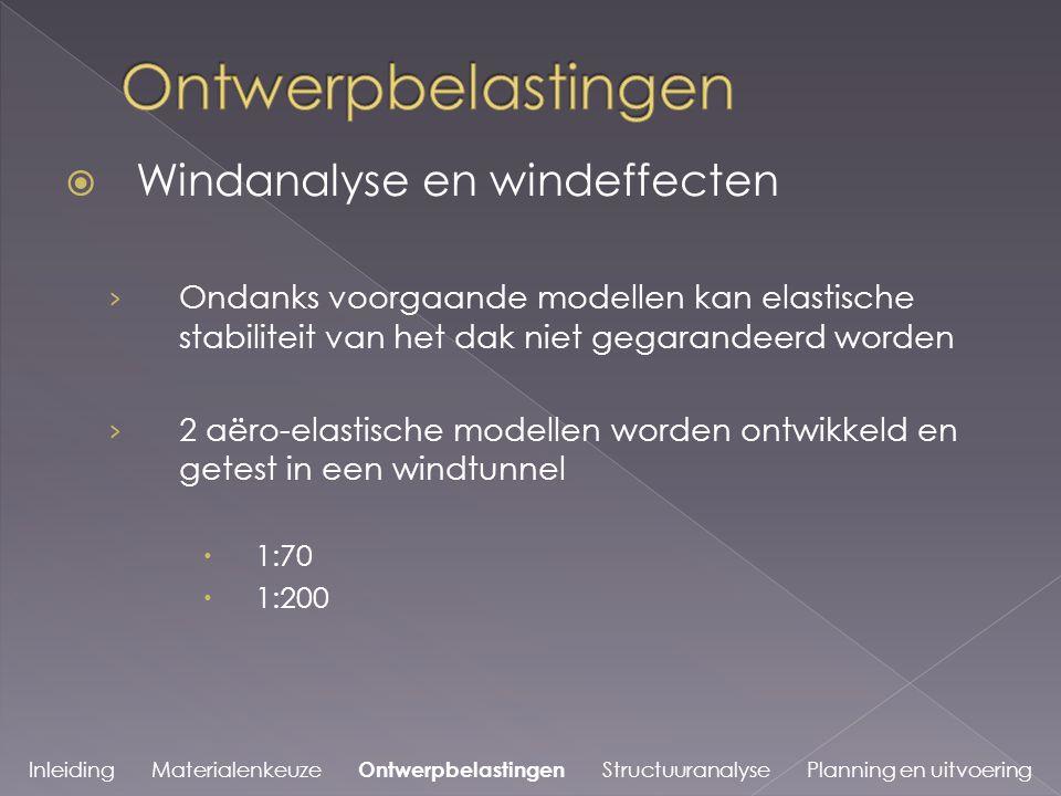  Windanalyse en windeffecten › Ondanks voorgaande modellen kan elastische stabiliteit van het dak niet gegarandeerd worden › 2 aëro-elastische modellen worden ontwikkeld en getest in een windtunnel  1:70  1:200 Inleiding Materialenkeuze Ontwerpbelastingen Structuuranalyse Planning en uitvoering