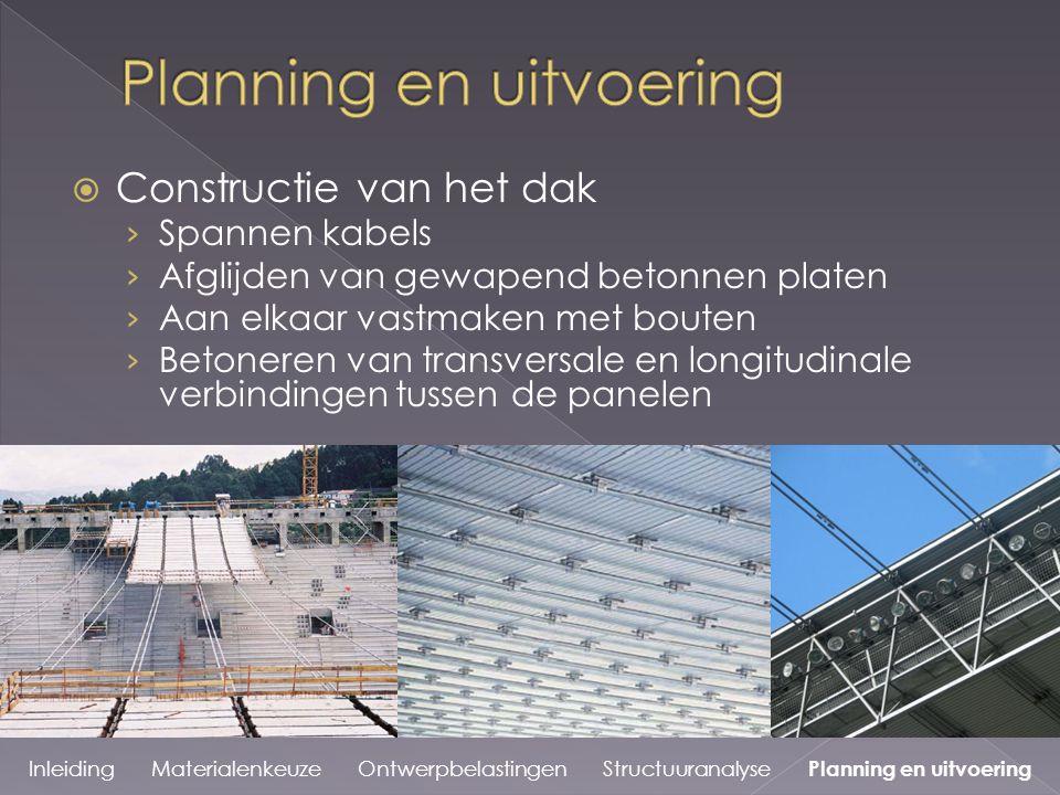  Constructie van het dak › Spannen kabels › Afglijden van gewapend betonnen platen › Aan elkaar vastmaken met bouten › Betoneren van transversale en longitudinale verbindingen tussen de panelen Inleiding Materialenkeuze Ontwerpbelastingen Structuuranalyse Planning en uitvoering