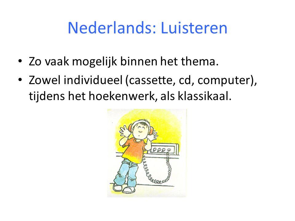 Nederlands: begrijpend lezen Begrijpend lezen: - In groepjes van 3 of 4 leerlingen - tekst wordt besproken adhv de leeskaart - werkblad wordt individueel gemaakt - leerlingen maken voor elkaar een werkblad op de computer