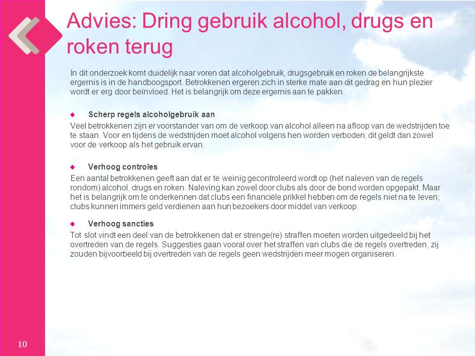 10 In dit onderzoek komt duidelijk naar voren dat alcoholgebruik, drugsgebruik en roken de belangrijkste ergernis is in de handboogsport.