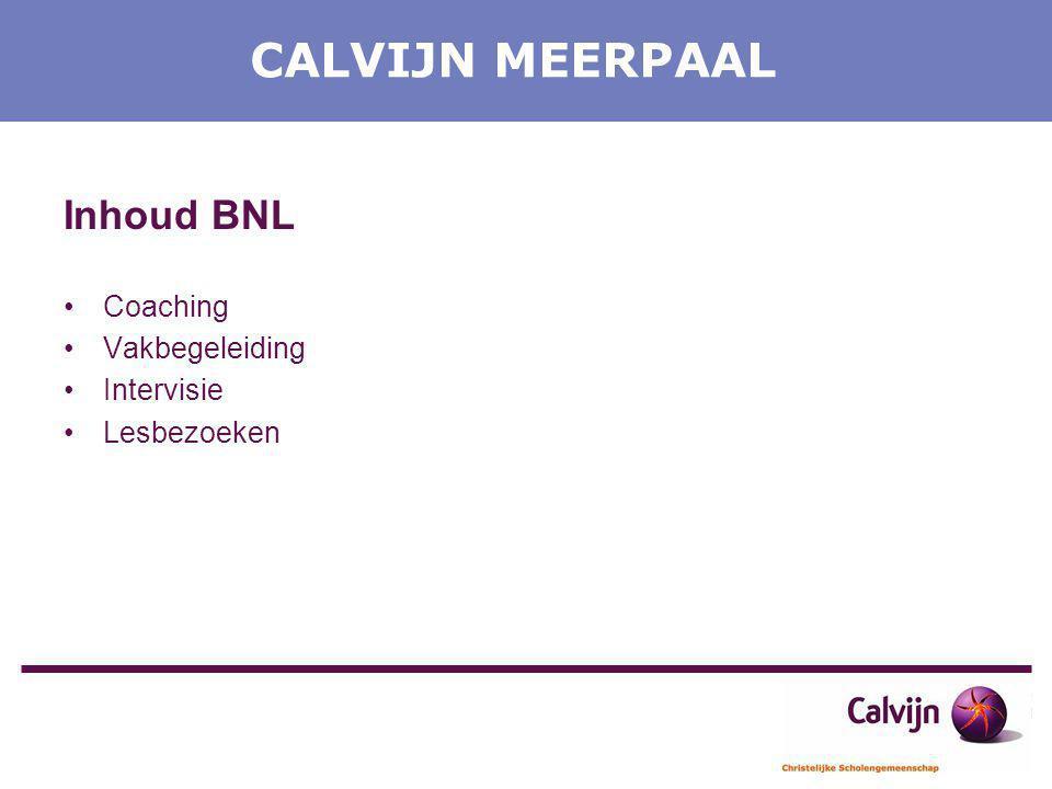 CALVIJN MEERPAAL Inhoud BNL Coaching Vakbegeleiding Intervisie Lesbezoeken