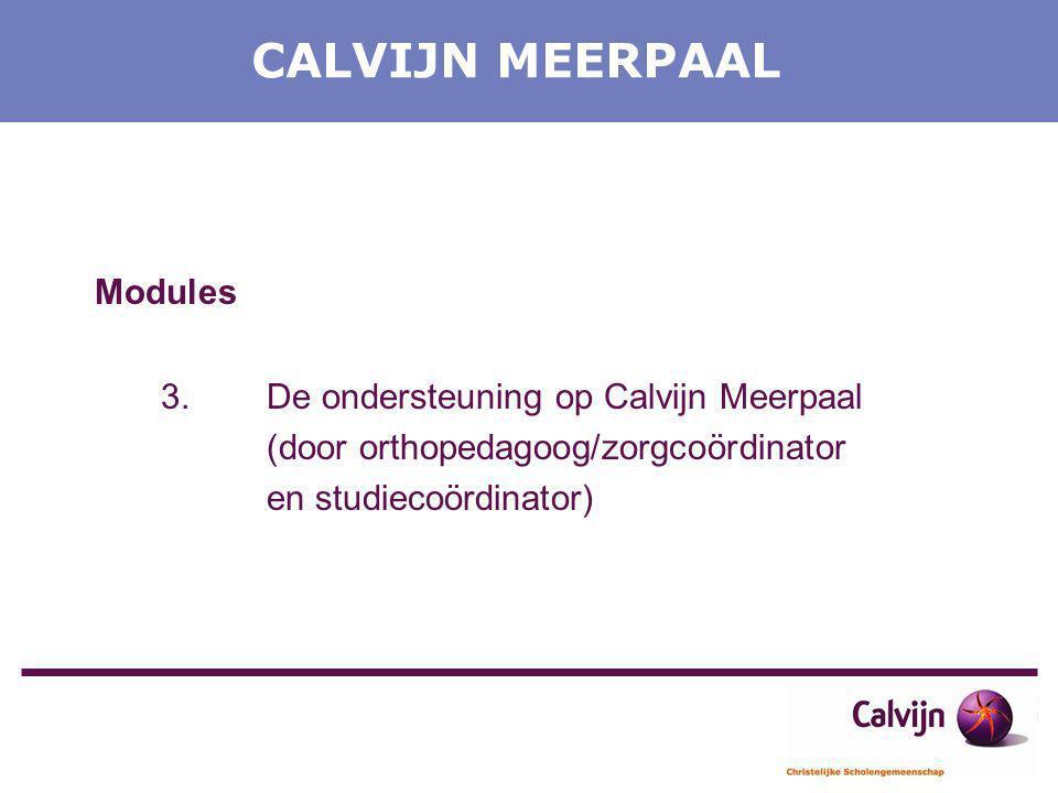 CALVIJN MEERPAAL Modules 3.De ondersteuning op Calvijn Meerpaal (door orthopedagoog/zorgcoördinator en studiecoördinator)