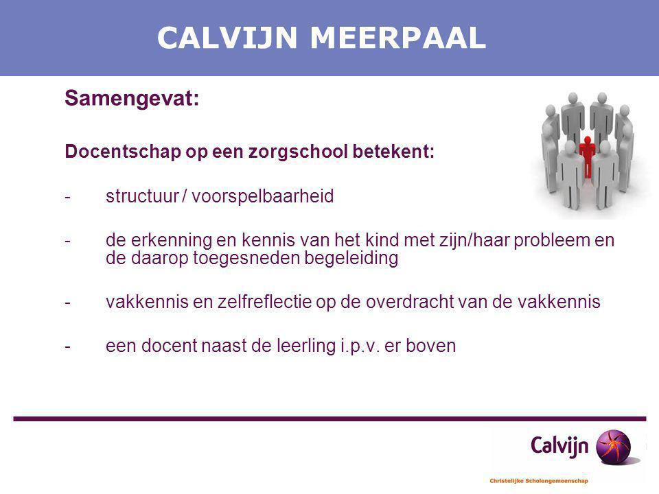 CALVIJN MEERPAAL Samengevat: Docentschap op een zorgschool betekent: -structuur / voorspelbaarheid -de erkenning en kennis van het kind met zijn/haar